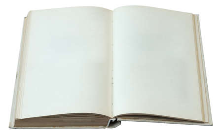 eading: blank open book isolated on white background
