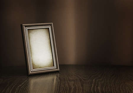 color photo: vintage photo-frame on table