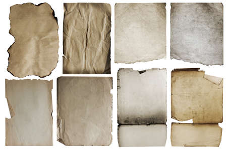burnt paper: old papers set isolated on white background.
