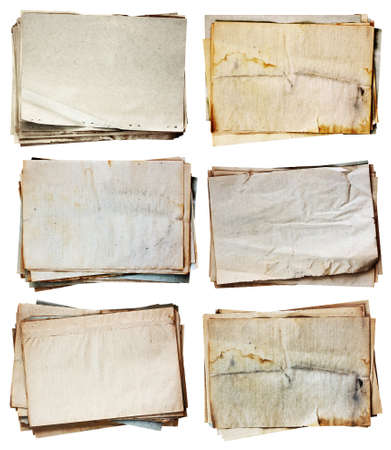 old document: stack of old papers set isolated on white background  Stock Photo