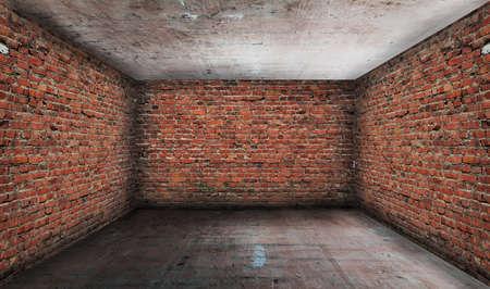 grunge interior: interior del grunge antiguo con paredes de ladrillo Foto de archivo
