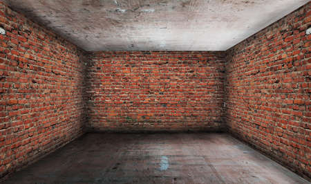 old grunge interior with brick walls photo