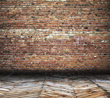 Antigua habitación con paredes de ladrillo, fondo de la vendimia Foto de archivo - 15482697