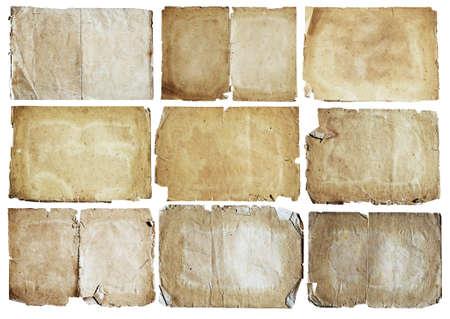 papel quemado: conjunto de papeles viejos aislados en fondo blanco Foto de archivo