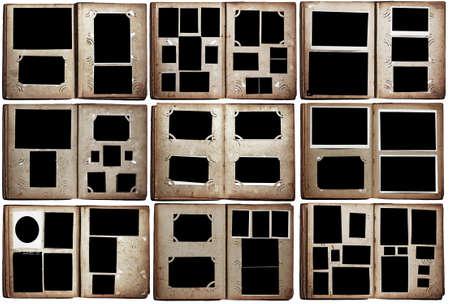 old photo albums set isolated on white background Standard-Bild