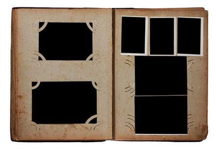 distorted image: old photo album isolated on white background