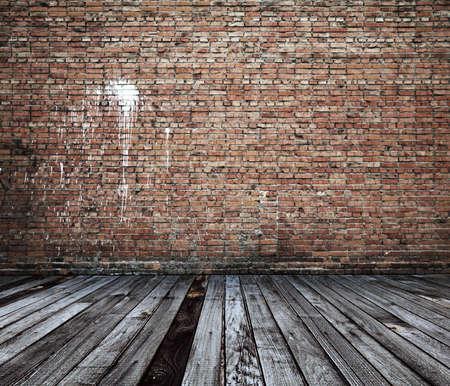 Antigua habitación con paredes de ladrillo, fondo de la vendimia Foto de archivo - 15655353