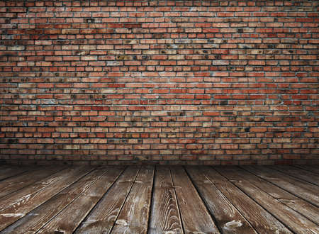 brick: old interior with brick wall, vintage background
