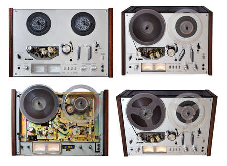 vintage analog recorder set isolated on white background photo