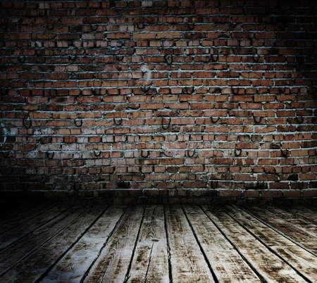 habitacion desordenada: sala de edad, con pared de ladrillo, fondo vintage