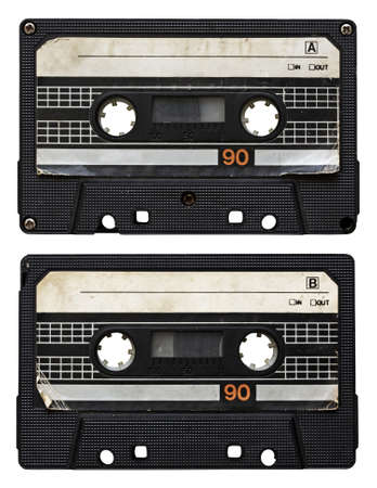 audio cassette isolated on white background. side A and B photo