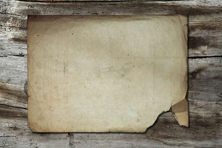 vintage paper on old wood texture photo