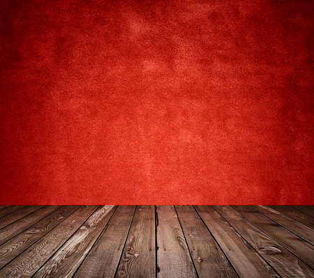 painted wood: old room with concrete wall and wooden floor, red background
