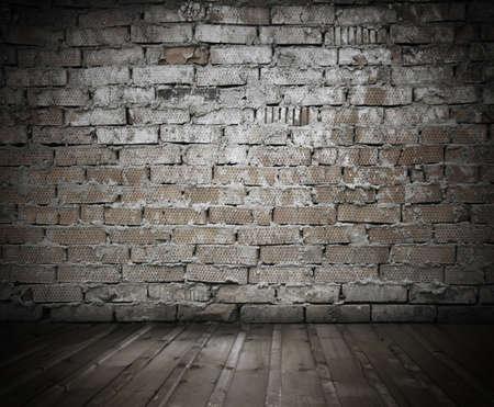 krottenwijk: oude krottenwijk met bakstenen muur, vintage achtergrond Stockfoto