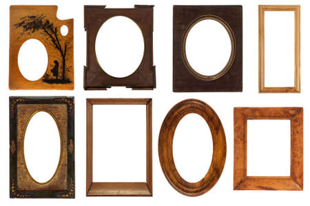 Different Vintage Frames Isolated On White Background With Clipping ...