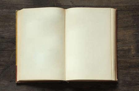 Libro en blanco abierto sobre fondo de madera vieja Foto de archivo - 17553970
