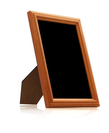 wooden photo frame on white background with reflection  photo