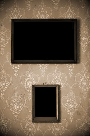 two photo-frames on old wall Stock Photo - 17554226