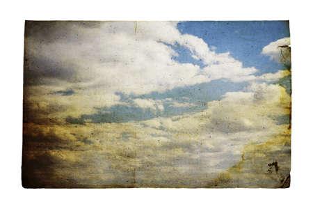 beautifu: old grungy illustration, beautifu cloudscape Stock Photo