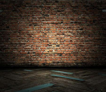vintage interior with brick wall photo