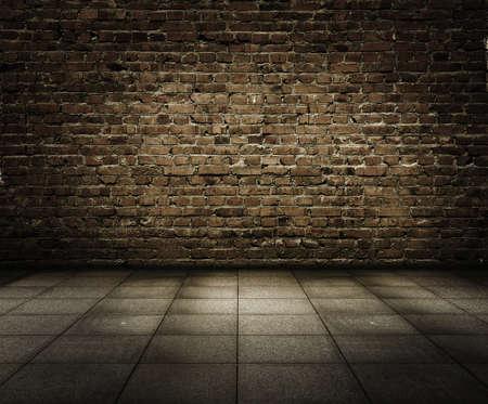 old grunge interior with brick wall Standard-Bild