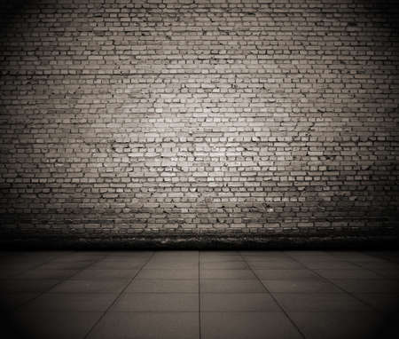 old grunge inter with brick wall Stock Photo - 17558637