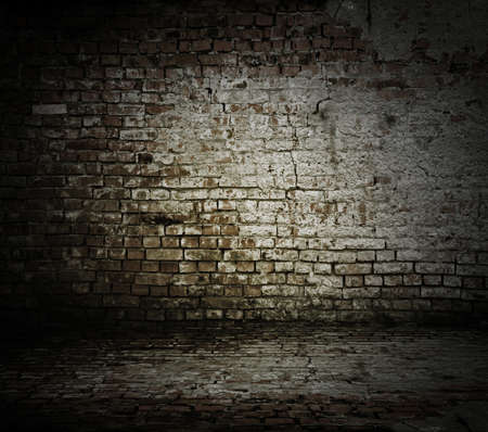 brick background: old room with a brick wall and floor
