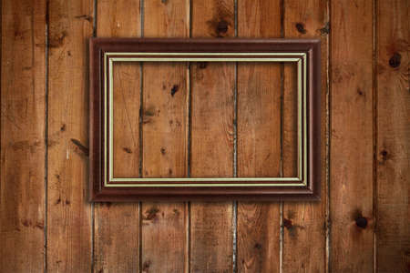 picture frame on old wooden wall Stock Photo - 17558870