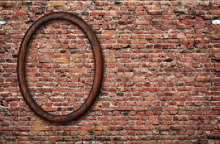 blank photo frame on old brick wall photo
