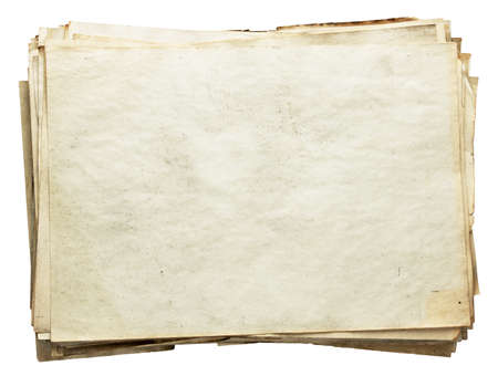old document: stack of old papers isolated on white background with clipping path  Stock Photo