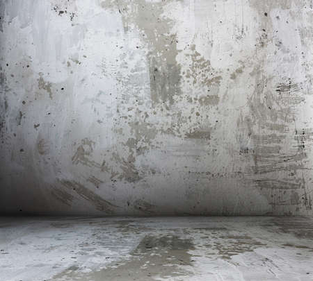 stained concrete: old grunge room with concrete wall, urban background