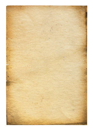 burnt: old paper isolated on white background with clipping path Stock Photo