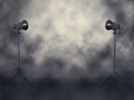 photo studio in old grunge room with fog and smoke photo