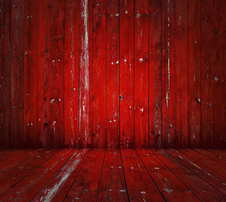 old wooden room, red background  photo