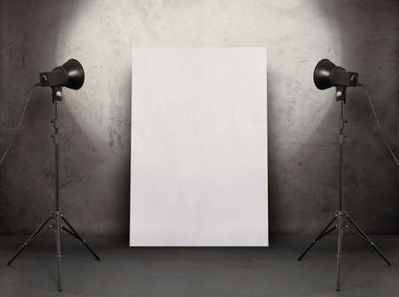 art gallery: billboard in old studio, urban background with placard  Stock Photo