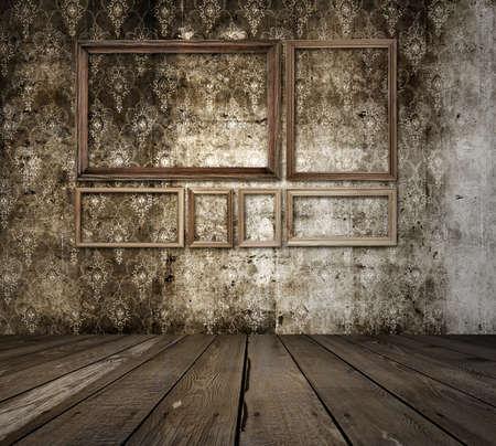 old grunge room with frames