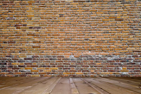 painted wall: old room with brick wall  Stock Photo