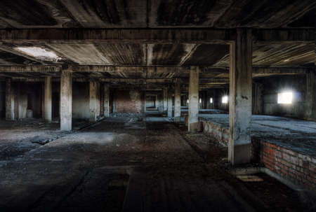 dark room: interior of an old abandoned building