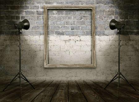 vintage studio room, background with retro photo frame