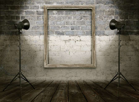 vintage studio room, background with retro photo frame Stock Photo - 20206148