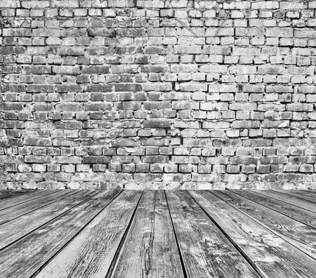 row house: old room with brick wall, grey vintage background