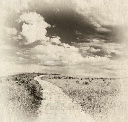 brick road: yellow brick road through meadows, fantasy background, retro illustration