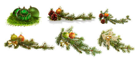 christmas decoration set isolated on the white background photo