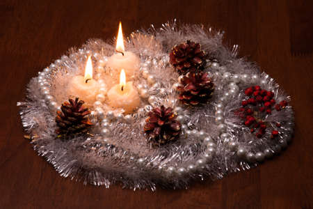 candles on wooden table photo