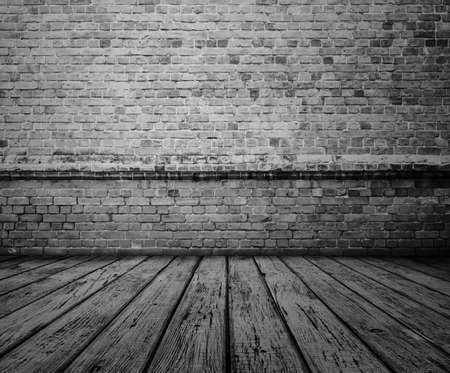 wood abandoned: old room with brick wall, grey vintage background