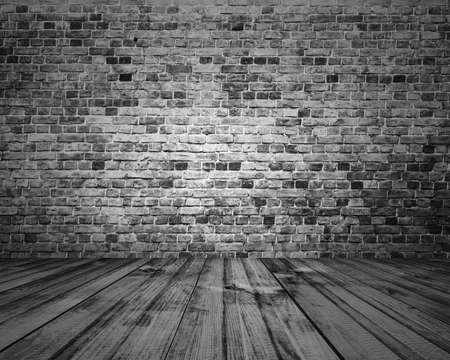 pared madera: vieja sala con pared de ladrillo, fondo gris de la vendimia Foto de archivo