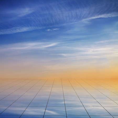 miror: blue sky and miror floor, cloudy background