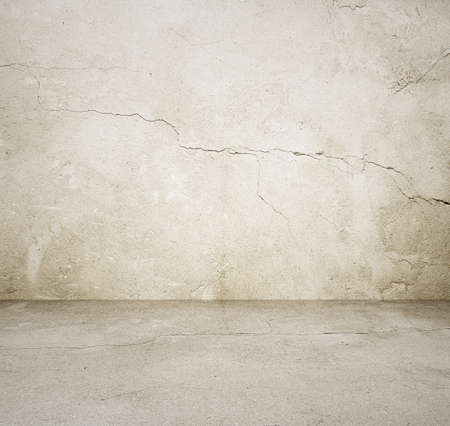 dirty room: empty room with concrete wall, grey background Stock Photo