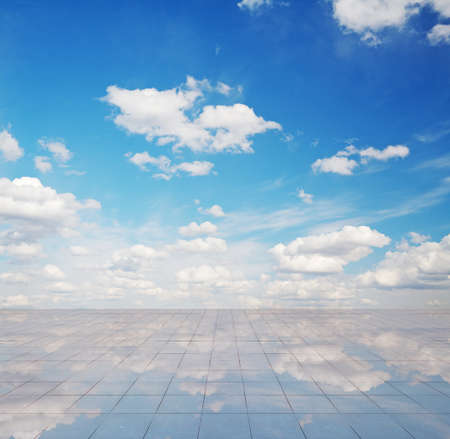 miror: blue sky and miror floor, cloudy background