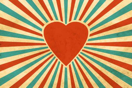태양 광선과 심장 빈티지 배경